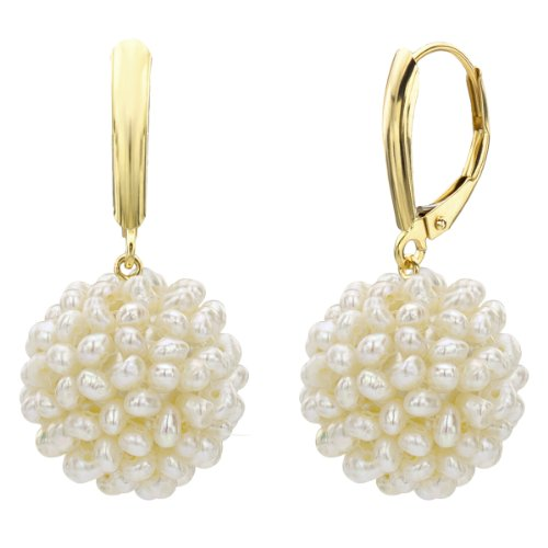 Cluster Freshwater Cultured White Pearl Dangle Leverback Earrings 14K Yellow Gold Jewelry 15-16mm