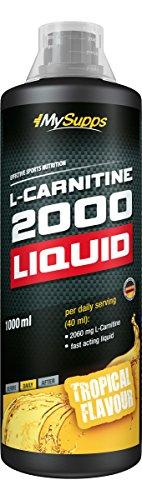 MySupps-L-Carnitine 2000 Liquid, fruchtig leckeres L-Carnitin Liquid, vegane 2060mg L-Carnitin pro Portion, extra Portion Vitamin B6, 25 Portionen für jedes Training, Made in Germany-1000ml (Tropical)