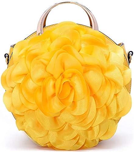 Women's Evening Handbags Female Bag Flower Shoulder Diagonal Handbag Fashion Round Design lace Evening Bags (Color : Yellow)