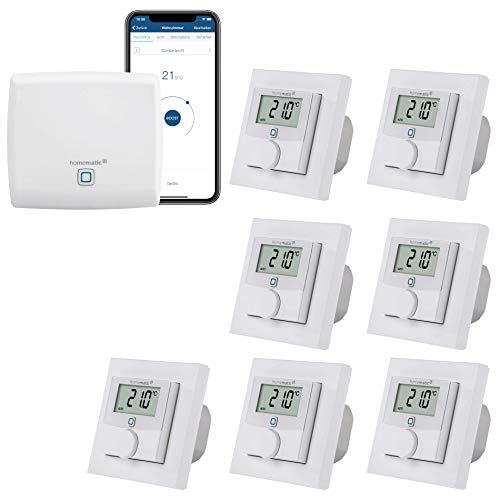 Homematic IP Smart Home Fußbodenheizungs-Set zur Einzelraumregelung in 7 Räumen - Zentrale und 7 kabelgebundene Wandthermostate mit Schaltausgang. Mit App Steuerung und Amazon Echo kompatibel.