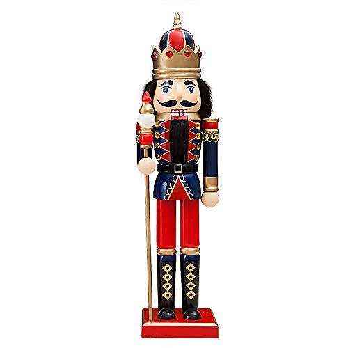 Schiaccianoci Soldato Re di Legno, 38 cm di Altezza, Pupazzo Burattino Dipinto a Mano, Statuetta Nutcracker Soldier King Decorazione Regalo Natale per Bambini - Blu