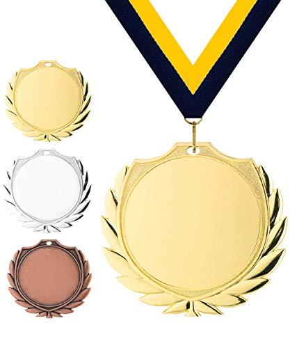 Pokalmatador GmbH Ø 70 mm Medaille Schweden inkl. Medaillenband und Aluminiumemblem mit Sportart und Beschriftung (Gold, inkl. Beschriftung)