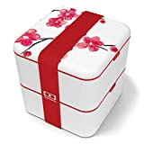 monbento - MB Square Graphic Blossom bento box with japanese flowers - Large - 2 tier leakproof lunch box for work/school lunch packing and meal prep - BPA free - Food grade safe food containers