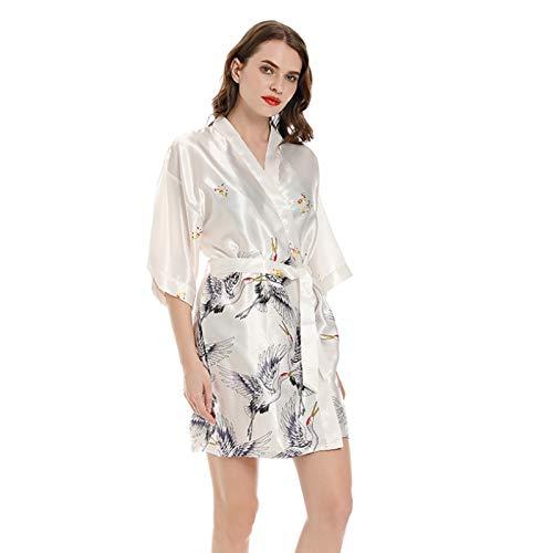 Kimono de las mujeres batas bata, camisón vestido de seda sintética batas cuello en V impresión suave bata de baño Pijamas 002-XL