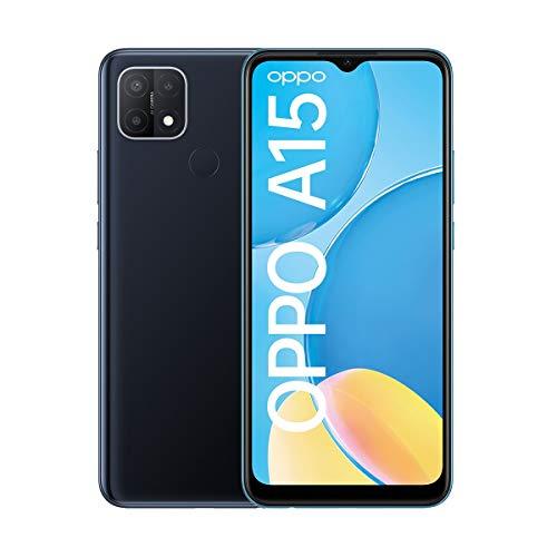 OPPO A15 Smartphone, 6,5 Zoll HD+ Bildschirm, 4.230 mAh Akku + 10W Schnellladen, 13 MP Dreifach-Kamera, Dual-SIM + mSD , Speichererweiterung bis zu 256 GB Dynamic Black – Deutsche Version