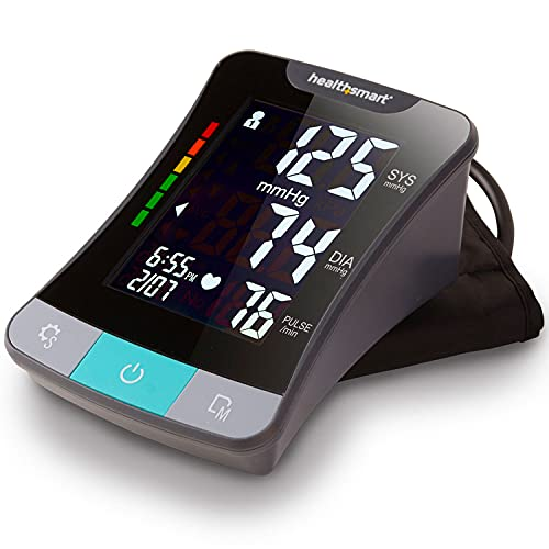 HealthSmart Digital Blood Pressure Monitor with Automatic Upper Cuff That Displays Pulse Rate and Irregular Heartbeat Stores up to 120 Readings for 2 Users Elite, Black, 1 Count