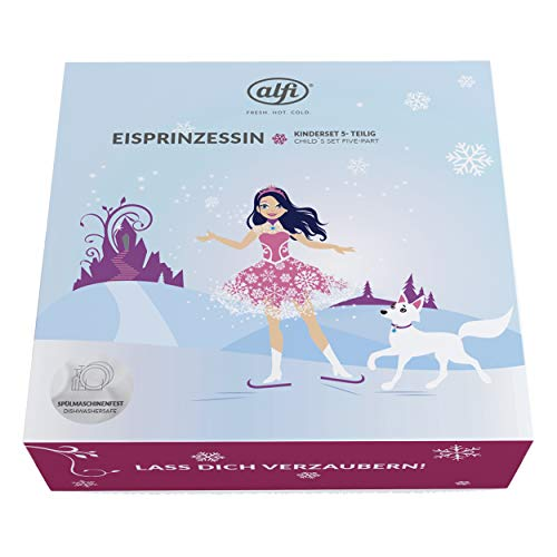 alfi 5377.168.560 Besteckset inkl. Trinkflasche elementBottle II, Edelstahl Princess Pink 0,6 l, 5tlg., Kinder-Set, Spülmaschinenfest, BPA-Free