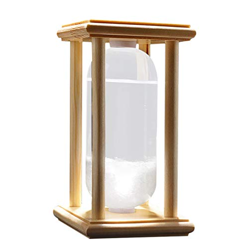 50ML Storm Glass Weather Predictor,Storm-Glass Weather-Station,Stylish Angel Glass Barometer,Best, Wood Base,High Class Decoration on Home & Office