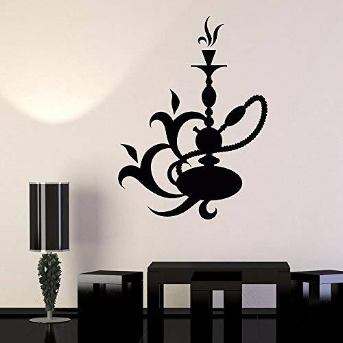 AiEnmaw Vinilo adhesivo de pared con cachimba salón árabe barra de humo shisha pegatinas de pared decoración del hogar salón decoración de pared extraíble 78 x 57 cm