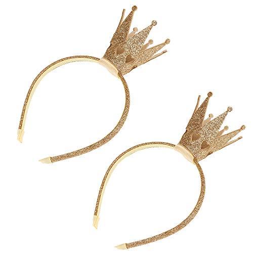 IWILCS 2 stuks prinsessenkroon haarband, Shiny Crown haarband, glitter gouden kroon haarband voor dames, baby's, kleine kinderen, hoofdtooi kostuum accessoires, verjaardag party foto rekwisieten