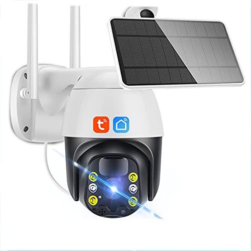 Tuya Smart Cámara, panel solar para exteriores, con pilas, PTZ, vigilancia de seguridad, movimiento humano, visión nocturna en color, 1080P, cámara domo HD,4g,Cam + 64G