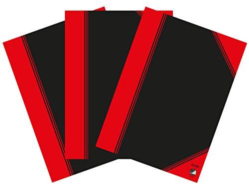 Bantex Notizbuch A5, kariert, 96 Blatt, 3er Pack, Schwarz, 400153844