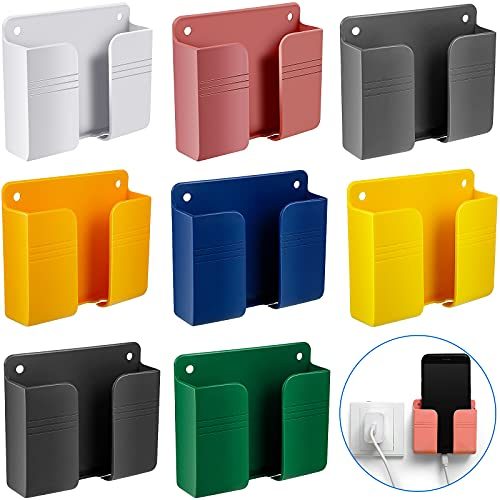 8 Pieces Wall Mount Phone Holder Adhesive Remote Control Storage Box Wall Mount Charging Phone Brackets Holder Adhesive Non Slip Media Organizer Storage Box for Bedroom Kitchen Bathroom Office