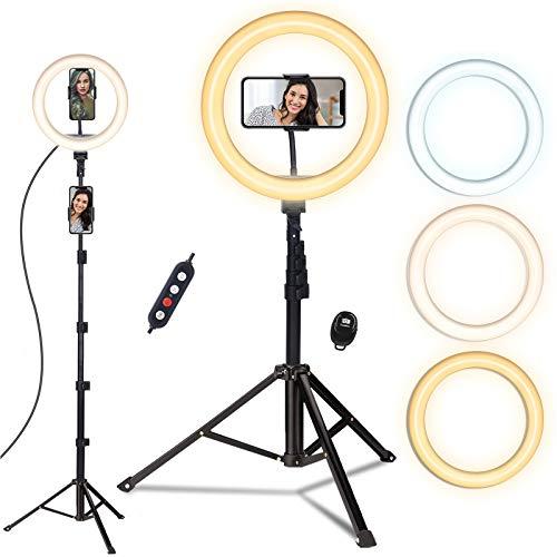 Ring light, doosl Luce ad Anello LED con Telecomando Wireless per Smartphone, Foto, Trucco, Youtube, Lampada Anulare Regolabile con 3 Modalita` di Illuminazione e 10 Livelli di Luminosità