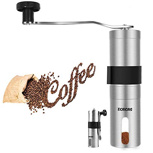 DORCAS Stainless Steel Manual Coffee Grinder with Adjustable Ceramic Burr,Portable Burr Coffee Grinder for Aeropress, Drip Coffee, Espresso, French Press, Turkish Brew