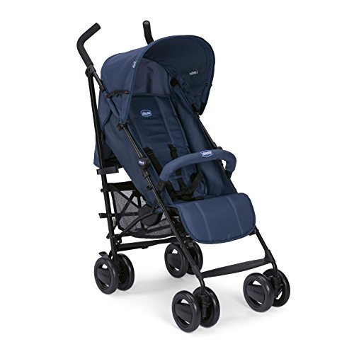 Chicco - Poussette Canne London Up - Poussette Canne avec Arceau, Compacte, Inclinable 4 positions - Blue Passion