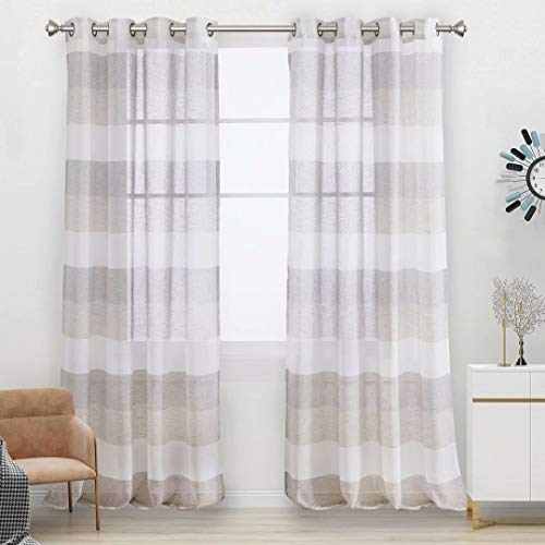 Aloft Striped Sheer Curtains for Bedroom - Linen Look Color Block Semi Sheer Drapes 84 inches Long Grommet Voile Window Curtain for Farmhouse and Living Room, Natural, 58x84, 2 Panels