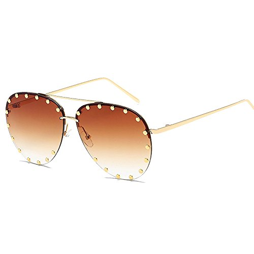 BVAGSS Women Rimless Oversized Sunglasses Colorful Lens Rivet Fashion WS027 (Gold Frame, Gradient Brown)