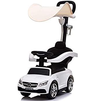 Little Brown Box 3 in 1 Licensed Mercedes Benz AMG Kids Ride on Push Car for Toddler,Car Stroller Baby Ride on Toys for 1 to 3 Year Boy & Girl W/ Parent Handle Armrest Guardrail Music & Horn White