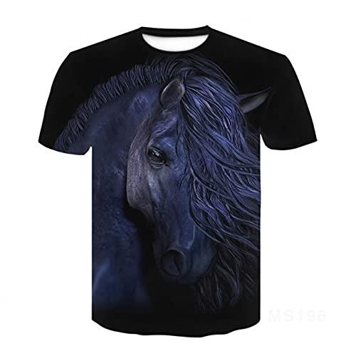 Owenqian Camisetas para Hombre,Camiseta de Terror 3D Camiseta de Pico de tiburón de Manga Corta Camiseta Masculina Femenina Camiseta Masculina Femenina niño Azul