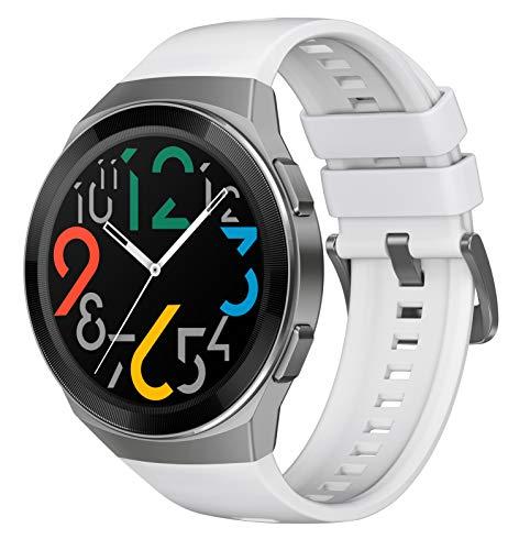 HUAWEI Watch GT 2e Smartwatch (46mm AMOLED Touchscreen, SpO2-Monitoring,Herzfrequenz-Messung,Musik Wiedergabe,GPS,Fitness Tracker,5ATM wasserdicht) Icy White[Exklusiv+5 EUR Gutschein]