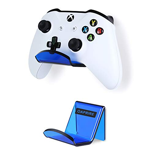 OAPRIRE Controller Holder Stand Wall Mount (2 Pack) - Perfect Display and Storing Modern&Retro Controller - Universal Controller Hanger Kit with Cable Clips - Create Exclusive Game Fortresses (Blue)