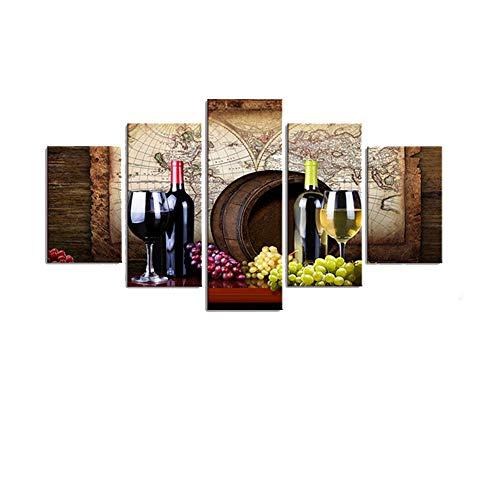 N\A Cuadros Decoracion Salon Modernos - Lienzos Cuadros para Dormitorios - Cuadros para Pasillo - Vino. Uvas. Barricas De Roble