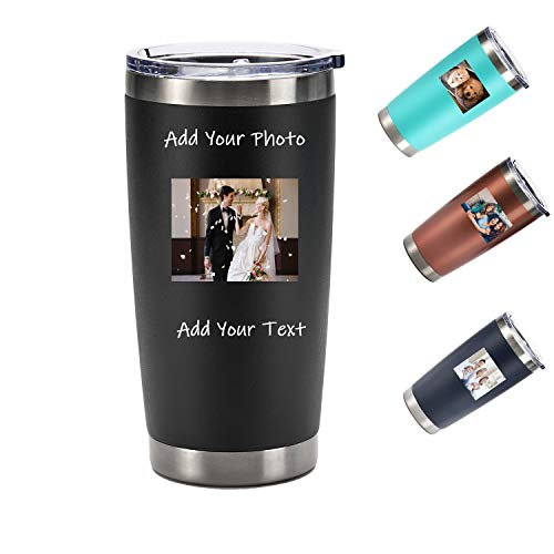 Custom Photo Tumblers 20oz with Lid Personalized Stainless Steel Tumbler Double Wall Vacuum Insulated Travel Mug Great Gift, Customized Durable Powder Coated Coffee Cup (Black)