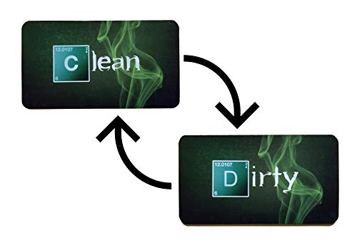 Breaking Bad Inspired Clean Dirty Reversible Double Sided Dishwasher Magnet, Strong Universal Sign Indicator with 3M Magnetic Plate, Non-scratching Magnets Tell Whether Dishes Are Clean or Dirty