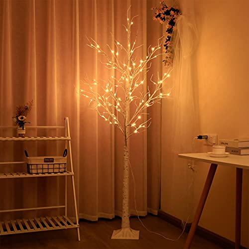 IronBuddy 6FT Lighted Birch Tree 110 LEDs Floor Lighted Tree Fairy White Birch Tree Light for Home Christmas Wedding Party Indoor Outdoor Festival Decorations