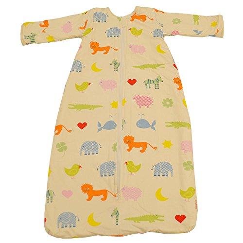 Cotonea, Schlafsack mit Plüschfutter und abnehmbaren Ärmel, 110cm, Motiv Kritzelkreise, Bio Baumwolle
