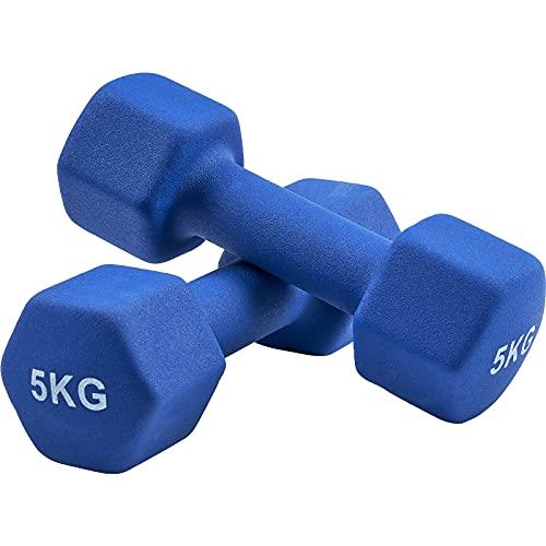 AMGYM Manubrio Pesi Neoprene, Pesi Palestra manubri in Casa, Palestra Fitness Set Pesi manubri 2 x 5 kg