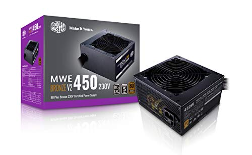 Cooler Master MWE 450 Bronze V2 230v, 80 Plus Bronze Certified, Non-Modular Power Supply (Black)