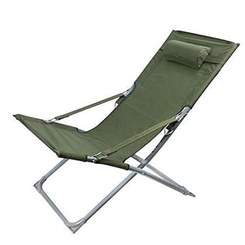 Liegestuhl Aluminium Mit Kissen Tragfähigkeit BIS 300 kg Sport Freizeit (Color : Army Green)