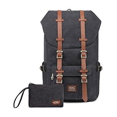 Kaukko Laptop Outdoor Backpack, Travel Hiking& Camping Rucksack Pack, Casual Large College School Daypack, Shoulder Book Bags Back Fits 15  Laptop &Tablets (Canvas Black(2pcs))