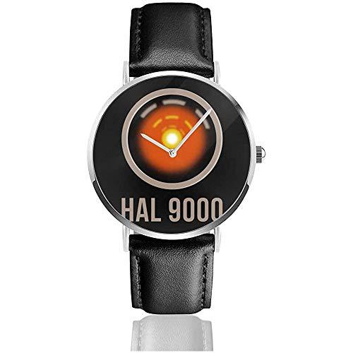 Unisex Space Odyssey Hal 9000 Uhren Quarzlederuhr mit schwarzem Lederband