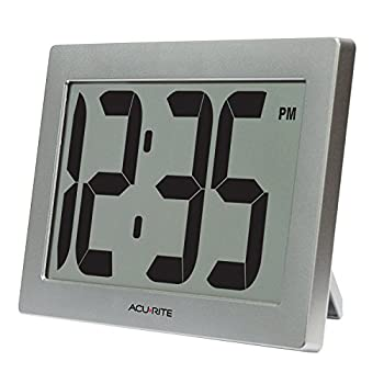 AcuRite 75102RM 9.5  Large Digital Clock with Intelli-Time Technology,Siliver,6-inch height x 9.5-inch width x 1.8-inch depth