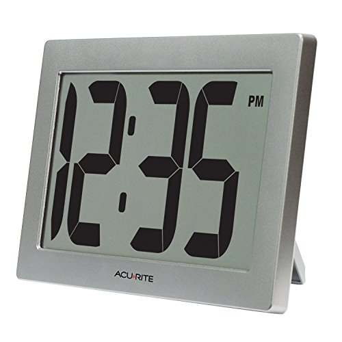 """AcuRite 75102RM 9.5"""" Large Digital Clock with Intelli-Time Technology,Siliver,6-inch height x 9.5-inch width x 1.8-inch depth"""
