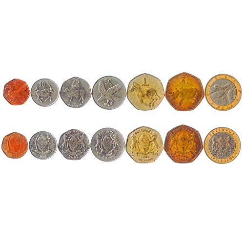 Set of 7 Coins from Botswana. 5, 10, 25, 50 THEBE, 1, 2, 5 PULA. 1991-2009