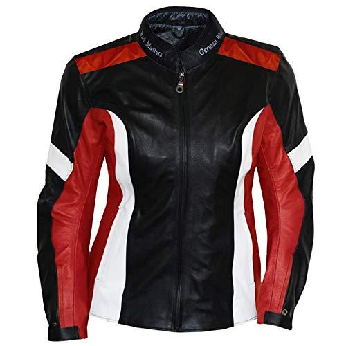 German Wear Damen Lederjacke Motorradjacke, Schwarz/Rot/Weiß, 2XL
