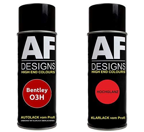 Alex Flittner Designs Autolack Spraydose Set für Bentley O3H Tertre Rouge Basislack Klarlack Sprühdose 400ml