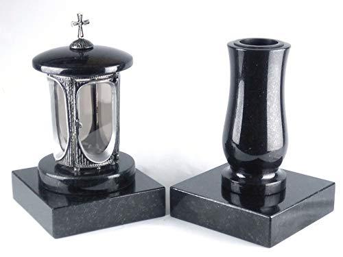 designgrab Alu Grablampe aus Aluminium in Antikoptik mit Kreuz und Grabvase Taille-medium und 2 Stück Sockel eckig in Granit Schwedisch Black SS1 schwarz