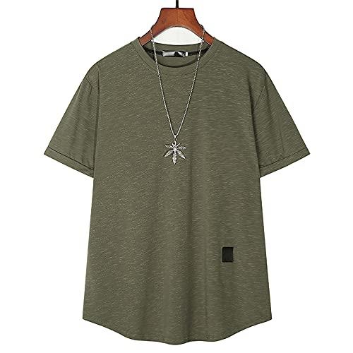 Camiseta Hombre Moderno Urbano Holgado Hombre Casuales Camisa Verano Simplicidad Tendencia Moda Color Sólido Hombre Manga Corta Diario Casual All-Match Hombre Shirt C-Green M