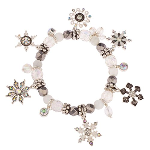 Lux Accessories Frozen Snowflake Christmas Xmas Snow Flake Braded Charm Bracelet