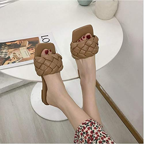 xiaomomo521 Women's Open Square Toe Flat Sandals Braided Strap Slipper Women's Braided Flat Sandals Square Open Toe Slide 39 Brown