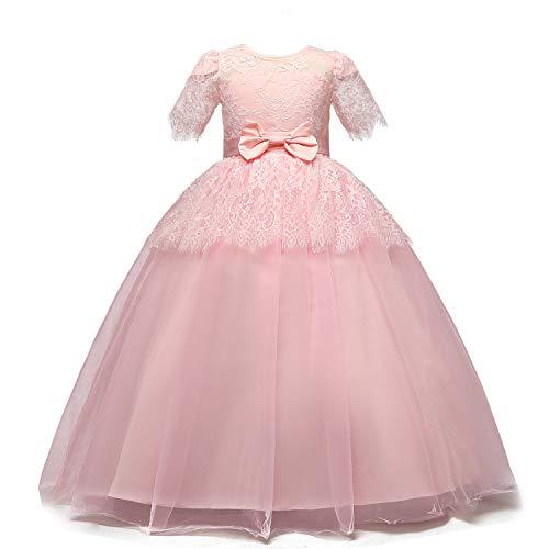 TTYAOVO Mädchen Prinzessin Kleid Floral Lace Brautjungfer Hochzeit Festzug Ballkleid 13-14 Jahre Rosa
