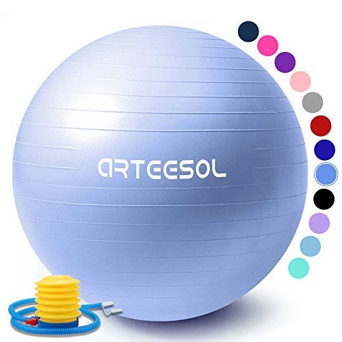 arteesol Gymnastikball 45cm/55cm/65cm/75cm Schwangerschaft Yoga Ball Auti Burst Core Blance Ball mit Schnellpumpe für Pilates Training Fitness Geburt (Skyblau-Srub, 65cm)