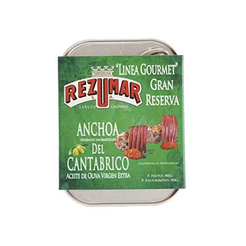Anchoas del Cantábrico REZUMAR en Aceite Oliva Virgen Extral. Calidad GOURMET-Gran Reserva. Lata 80gr.