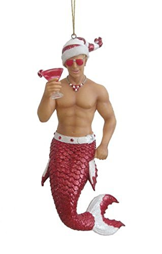 December Diamonds Candy Cane Merman with Drink Christmas Ornament 5590718 New