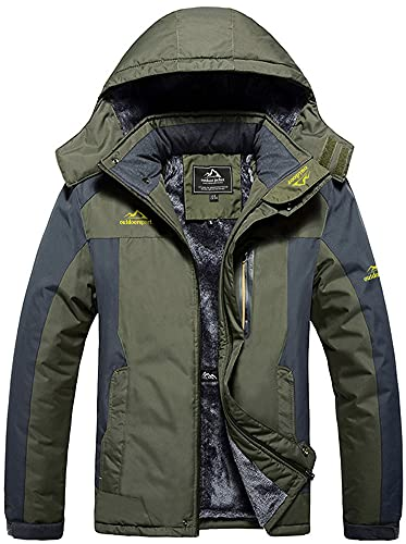 TACVASEN Hiking Jackets Men Waterproof Winter Jacket Casual Warm Coat Outdoor Fleece Jacket Cotton Work Softshell Climbing Jacket Leisure Thick Coat Army Green(Size: XXL)